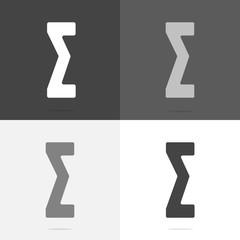 Vector icon algebraic sum. Set a flat sigma icon on white-grey-black color