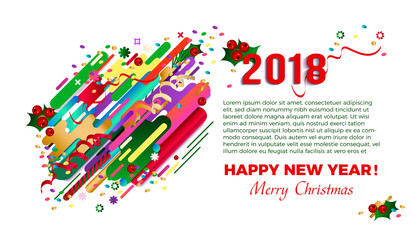 2018 Happy New Year greeting card, card design, poster. Original beautiful combination modern style abstraction with composition made of various rounded shapes in actual color palette