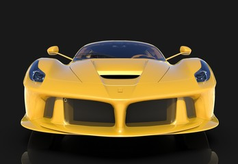 Sports car. The image of a sports yellow car on a black background. 3d illustration.