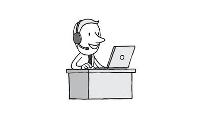 Call center support service helping customer with headset. on line solution business concept. isolated vector illustration outline hand drawn doodle line art cartoon design character.