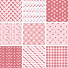 set of 9 sweet pink seamless patterns