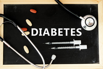 Word DIABETES with stethoscope,insulin syringe and medicine