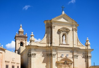 Front view of the Cathedral within the citadel in Cathedral Square, Victoria, Gozo, Malta.