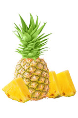 One whole pineapple and pieces isolated on white background