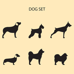 Vector illustration of dog breeds set