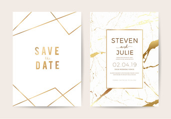 wedding cards with marble texture and gold. design for cover, banner, invitation, card Branding and identity Vector illustration. Wall mural