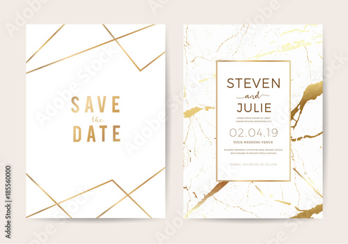 Wedding Cards With Marble Texture And Gold Design For Cover Banner