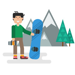 Flat guy with snowboard against mountains