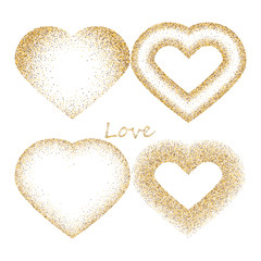 Shapes of four different hearts from golden glitter and pink scattering isolated on white. Four versions of heart logo for Valentine s day in 14 February.