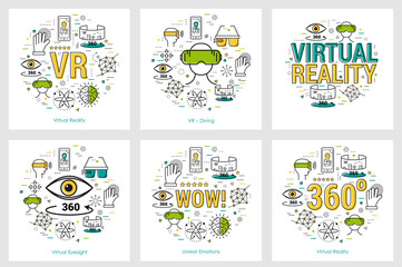 Six VR banners - virtual reality
