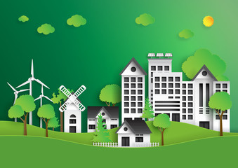 Eco green city.Save the world and environment concept.Nature urban landscape for green energy paper art style.Vector illustration.