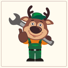 Funny deer in wearing overalls with the large wrench on her shoulder. Mechanic deer in cartoon style shows like.