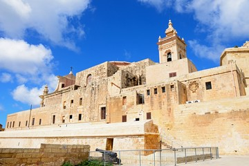View of part of the citadel and Cathedral tower, Victoria, Gozo, Malta.