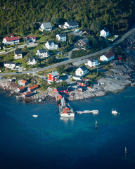 Norway Lofoten fishing town aerial view