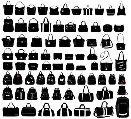 Collection of women's shopping bags, backpacks and travel bags over white background