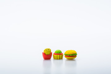 Rubber fast food icon isolated on white background.Concept of fast food. Copy space for text and logo.