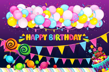 Happy Birthday vector set. Balloons, flags, candy and cake