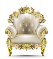 Luxurious Baroque armchair soft textile. Vector realistic 3D designs. Golden carved ornaments
