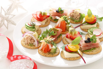 Delicous assorted cnapes for festive appetizer