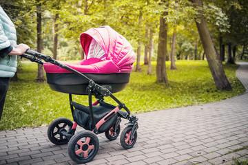 A stroller strolls in the park
