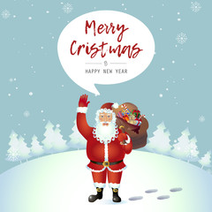 Smiling Santa Claus standing alone cartoon waving  her hand cartoon character isolated on white vector Illustration
