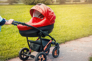 A stroller strolls in the park