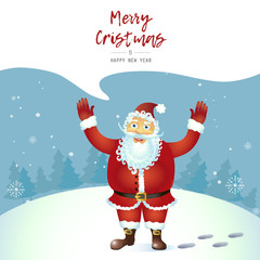 Vector  Santa claus throw up hands waving  her hand cartoon character  isolated on white Illustration