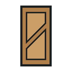Wooden Closed Front Door Entrance Modern Interior Design. Minimal Color Flat Line Outline Stroke Icon Illustration