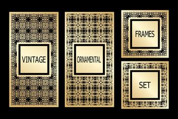 Vintage frames set with retro ornamental pattern. Vector illustration