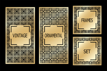 Vintage frames set with retro ornamental pattern. Vector illustration