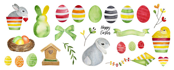 Big Easter Collection. Bunny, baby chicken, various decorative eggs, ribbons, greenery, kite, nest, wooden house. Red, green, yellow, orange paint. Hand drawn water color, isolated, white background.