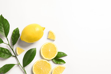 Composition with ripe lemons on white background Fototapete