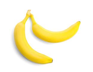 Tasty ripe bananas on white background