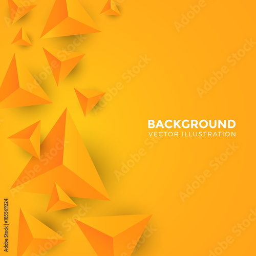 Abstract Yellow Triangle Background 3d Triangles Modern