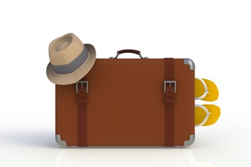 Suitcase of a traveler with  straw hat and flip flops isolated on white background, 3D rendering