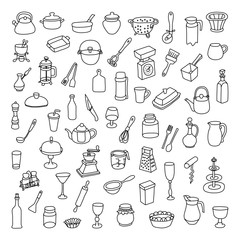 Set of 60 icons of different types of cookware. Vector illustration for your cute design.
