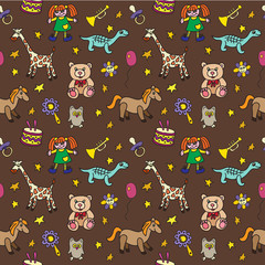 Seamless pattern with toys. Can be used for textile, website background, book cover, packaging.