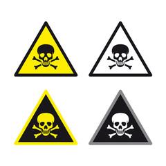 Danger warning caution toxic poison sign set