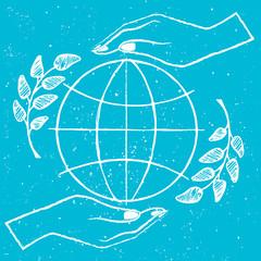 International Peace Day Vector Illustration on Blue
