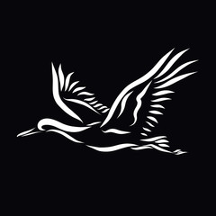 Flying stork, drawn with white lines on a black background