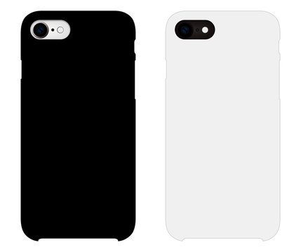 Smartphone case mockup template illustration (white/black)
