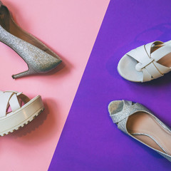 women's high heel shoes and sandals on ultra violet and pink background. fashion trend. minimal....