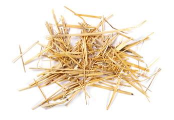 Fototapeta Straw pile isolated on white background, top view obraz