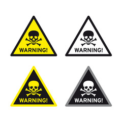 Toxic poison icon symbol warning sign set