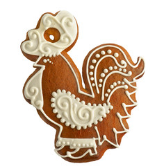 gingerbread bird on white background