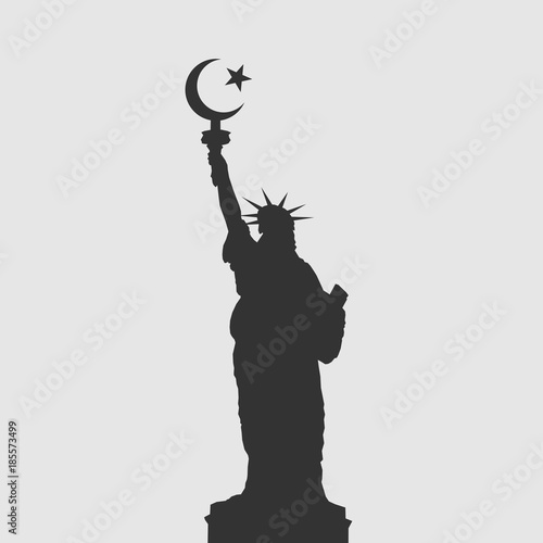 Statue Of Liberty With Crescent Symbol Metaphor Of Islam As