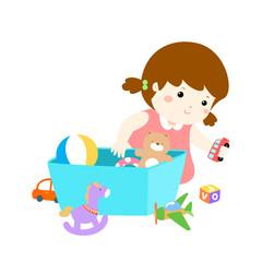 Illustration of cartoon cute girl storing toys.