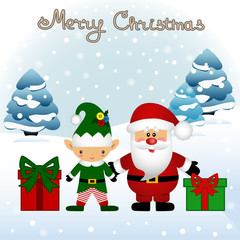 Christmas card. Funny postcard with Christmas Elf and Santa.