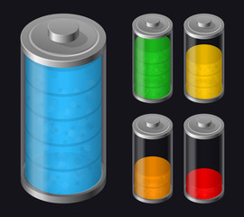 Set Batteries Icon. Various Types Charged