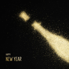 Gold glitter bottle of champagne - happy new year background ( christmas , holiday , eve )
